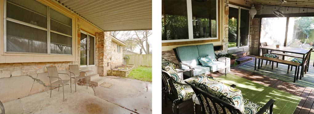 Clubway back patio before & after