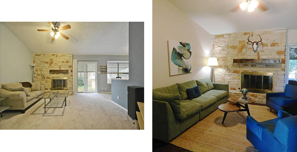 Clubway living room 1 before & after