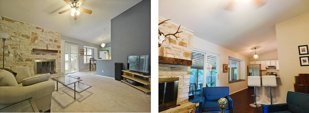 Clubway living room, 2 before & after
